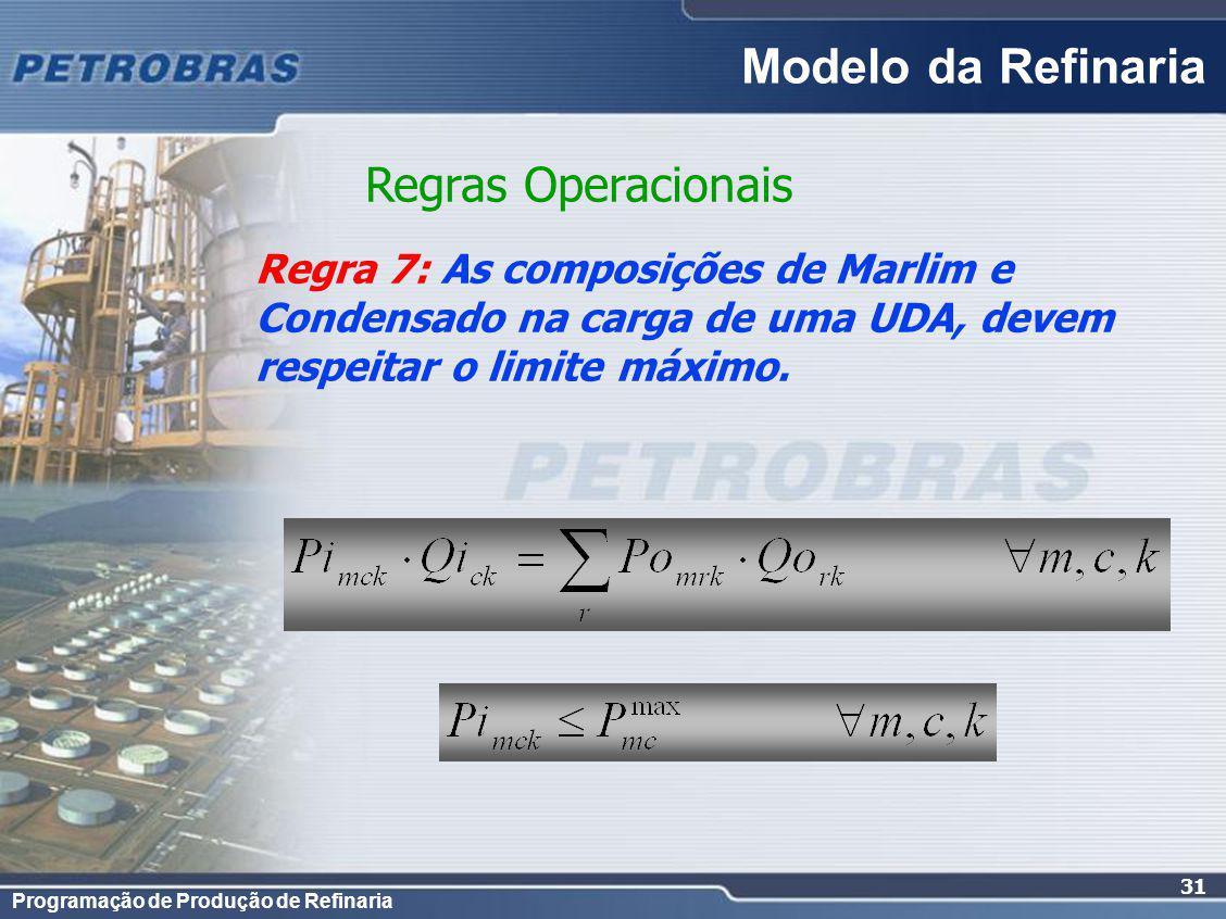 Programação de Produção de Refinaria 31 Regra 7: As composições de Marlim e Condensado na carga de uma UDA, devem respeitar o limite máximo.