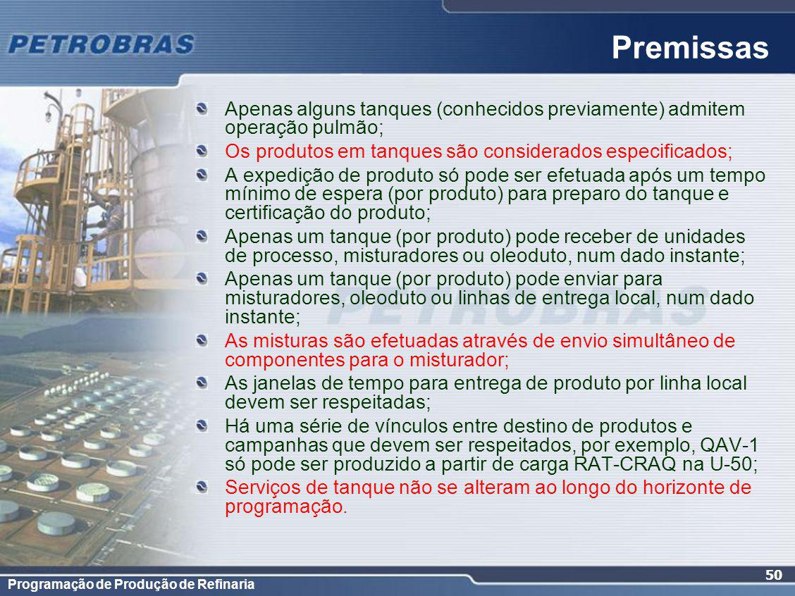 Programação de Produção de Refinaria 50 Apenas alguns tanques (conhecidos previamente) admitem operação pulmão; Os produtos em tanques são considerados especificados; A expedição de produto só pode ser efetuada após um tempo mínimo de espera (por produto) para preparo do tanque e certificação do produto; Apenas um tanque (por produto) pode receber de unidades de processo, misturadores ou oleoduto, num dado instante; Apenas um tanque (por produto) pode enviar para misturadores, oleoduto ou linhas de entrega local, num dado instante; As misturas são efetuadas através de envio simultâneo de componentes para o misturador; As janelas de tempo para entrega de produto por linha local devem ser respeitadas; Há uma série de vínculos entre destino de produtos e campanhas que devem ser respeitados, por exemplo, QAV-1 só pode ser produzido a partir de carga RAT-CRAQ na U-50; Serviços de tanque não se alteram ao longo do horizonte de programação.