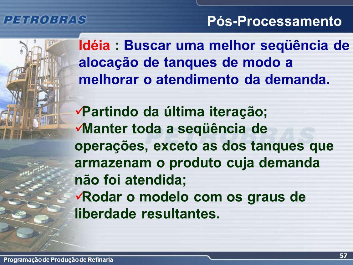 Programação de Produção de Refinaria 57 Pós-Processamento Partindo da última iteração; Manter toda a seqüência de operações, exceto as dos tanques que armazenam o produto cuja demanda não foi atendida; Rodar o modelo com os graus de liberdade resultantes.