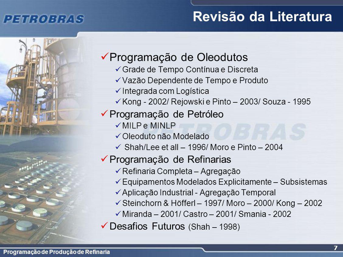 Programação de Produção de Refinaria 7 Revisão da Literatura Programação de Oleodutos Grade de Tempo Contínua e Discreta Vazão Dependente de Tempo e P