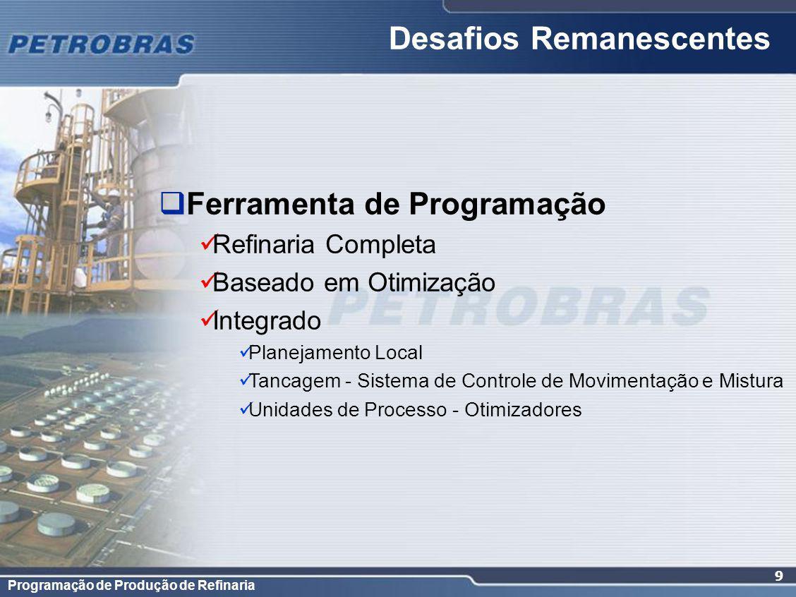Programação de Produção de Refinaria 9 Desafios Remanescentes Ferramenta de Programação Refinaria Completa Baseado em Otimização Integrado Planejamento Local Tancagem - Sistema de Controle de Movimentação e Mistura Unidades de Processo - Otimizadores