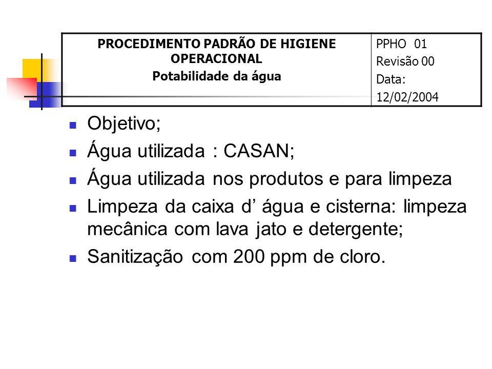 Objetivo; Água utilizada : CASAN; Água utilizada nos produtos e para limpeza Limpeza da caixa d água e cisterna: limpeza mecânica com lava jato e detergente; Sanitização com 200 ppm de cloro.