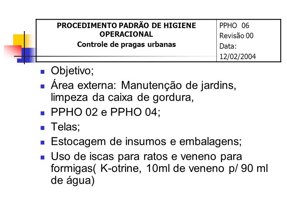 Objetivo; Área externa: Manutenção de jardins, limpeza da caixa de gordura, PPHO 02 e PPHO 04; Telas; Estocagem de insumos e embalagens; Uso de iscas para ratos e veneno para formigas( K-otrine, 10ml de veneno p/ 90 ml de água) PROCEDIMENTO PADRÃO DE HIGIENE OPERACIONAL Controle de pragas urbanas PPHO 06 Revisão 00 Data: 12/02/2004