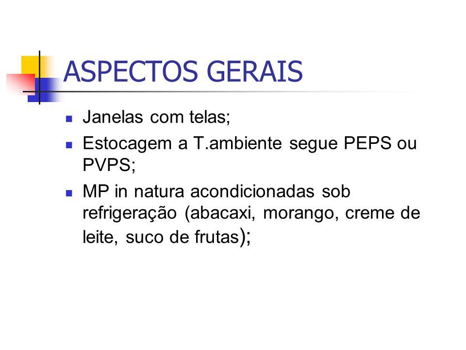 ASPECTOS GERAIS Janelas com telas; Estocagem a T.ambiente segue PEPS ou PVPS; MP in natura acondicionadas sob refrigeração (abacaxi, morango, creme de