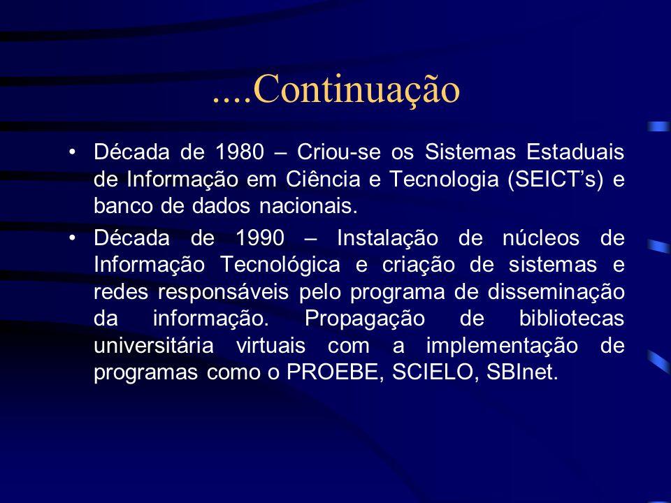 ....Continuação Década de 1980 – Criou-se os Sistemas Estaduais de Informação em Ciência e Tecnologia (SEICTs) e banco de dados nacionais. Década de 1