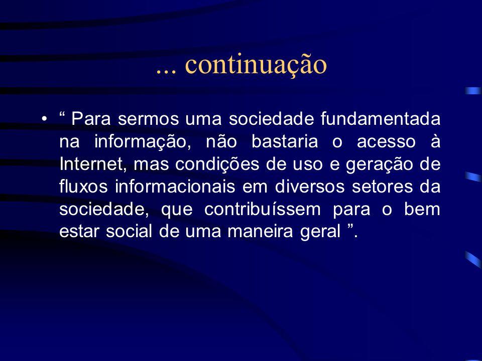 ... continuação Para sermos uma sociedade fundamentada na informação, não bastaria o acesso à Internet, mas condições de uso e geração de fluxos infor