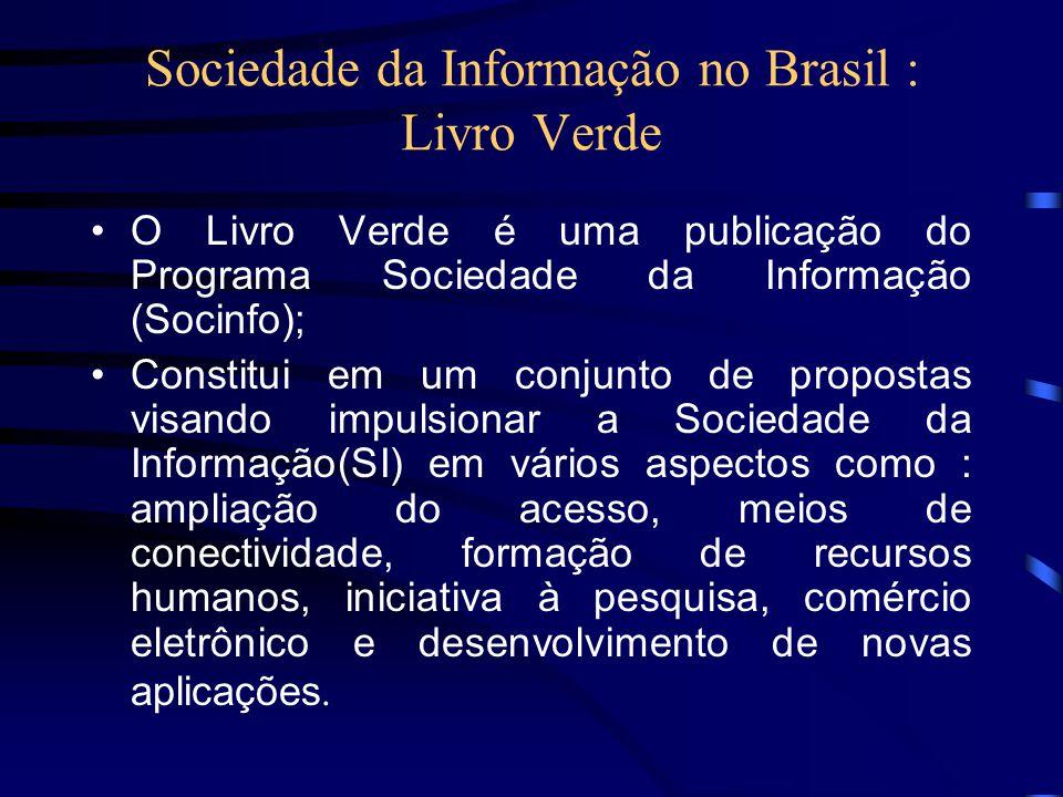 Sociedade da Informação no Brasil : Livro Verde O Livro Verde é uma publicação do Programa Sociedade da Informação (Socinfo); Constitui em um conjunto