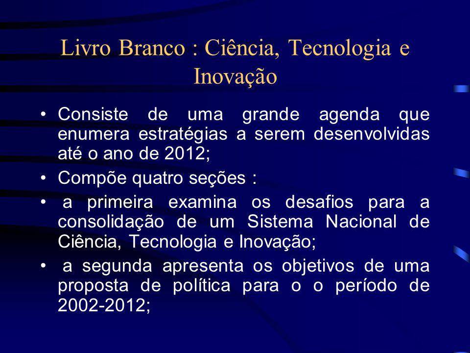 Livro Branco : Ciência, Tecnologia e Inovação Consiste de uma grande agenda que enumera estratégias a serem desenvolvidas até o ano de 2012; Compõe qu