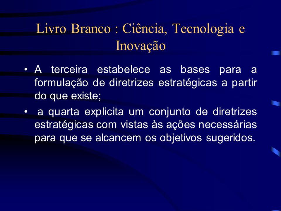 Livro Branco : Ciência, Tecnologia e Inovação A terceira estabelece as bases para a formulação de diretrizes estratégicas a partir do que existe; a qu