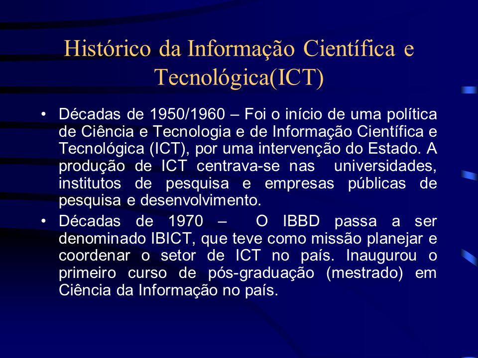 ....Continuação Década de 1980 – Criou-se os Sistemas Estaduais de Informação em Ciência e Tecnologia (SEICTs) e banco de dados nacionais.