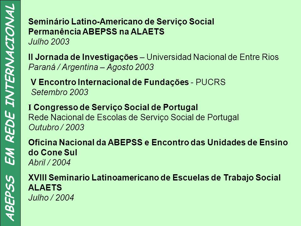 ABEPSS EM REDE INTERNACIONAL Seminário Latino-Americano de Serviço Social Permanência ABEPSS na ALAETS Julho 2003 II Jornada de Investigações – Univer