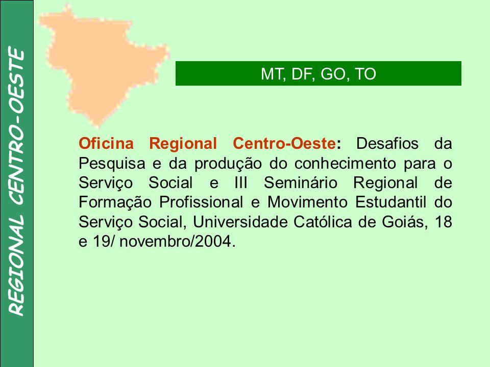 REGIONAL CENTRO-OESTE MT, DF, GO, TO Oficina Regional Centro-Oeste: Desafios da Pesquisa e da produção do conhecimento para o Serviço Social e III Sem