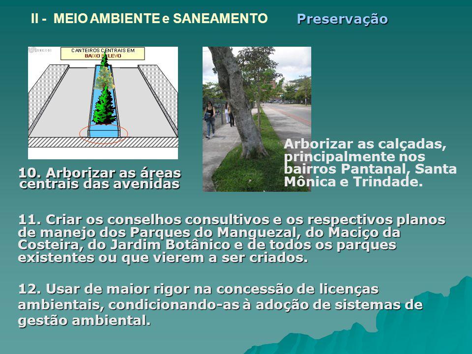10. Arborizar as áreas centrais das avenidas 10. Arborizar as áreas centrais das avenidas 11. Criar os conselhos consultivos e os respectivos planos d