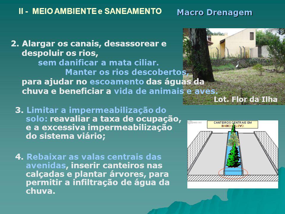 3. Limitar a impermeabilização do solo: reavaliar a taxa de ocupação, e a excessiva impermeabilização do sistema viário; 4. Rebaixar as valas centrais