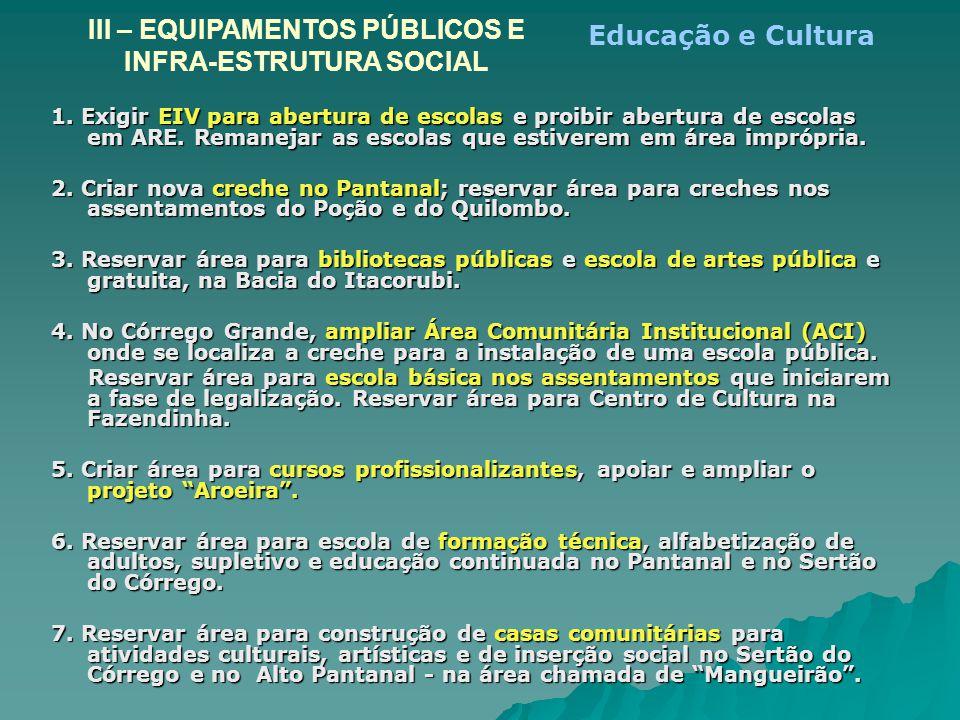 1. Exigir EIV para abertura de escolas e proibir abertura de escolas em ARE. Remanejar as escolas que estiverem em área imprópria. 2. Criar nova crech