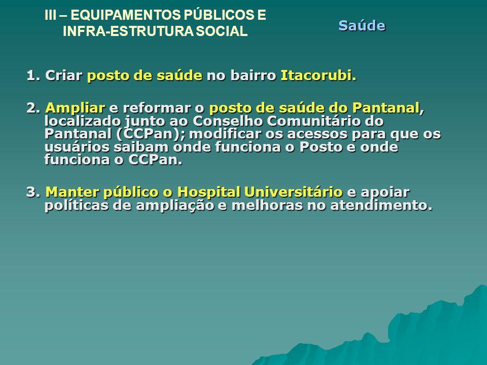 1. Criar posto de saúde no bairro Itacorubi. 2. Ampliar e reformar o posto de saúde do Pantanal, localizado junto ao Conselho Comunitário do Pantanal