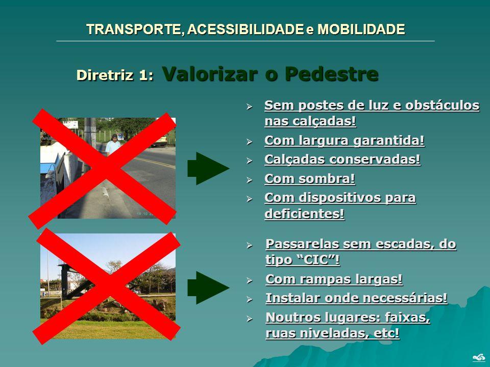 TRANSPORTE, ACESSIBILIDADE e MOBILIDADE Diretriz 1: Valorizar o Pedestre Sem postes de luz e obstáculos nas calçadas! Sem postes de luz e obstáculos n