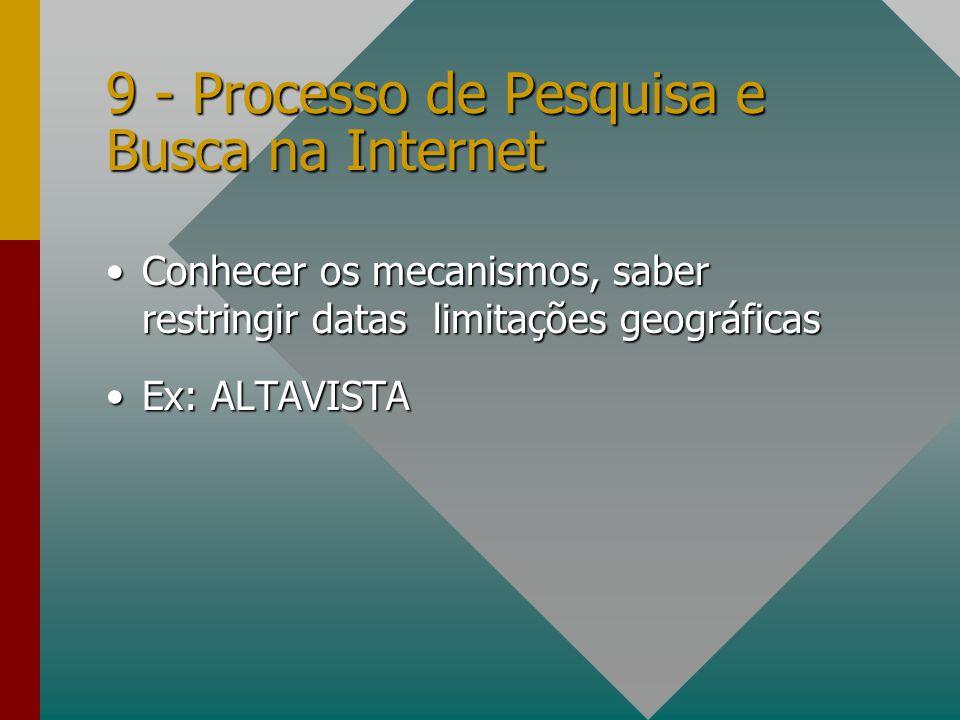 9 - Processo de Pesquisa e Busca na Internet Conhecer os mecanismos, saber restringir datas limitações geográficasConhecer os mecanismos, saber restri