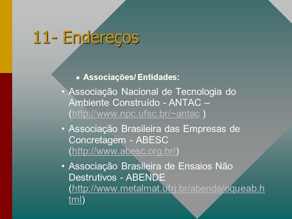 11- Endereços Associações/ Entidades: Associação Nacional de Tecnologia do Ambiente Construído - ANTAC – (http://www.npc.ufsc.br/~antac )http://www.np