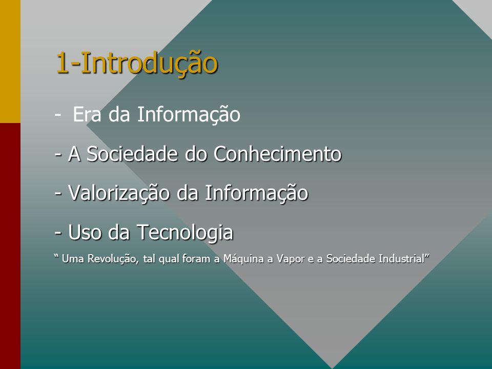 1-Introdução -Era da Informação - A Sociedade do Conhecimento - Valorização da Informação - Uso da Tecnologia Uma Revolução, tal qual foram a Máquina