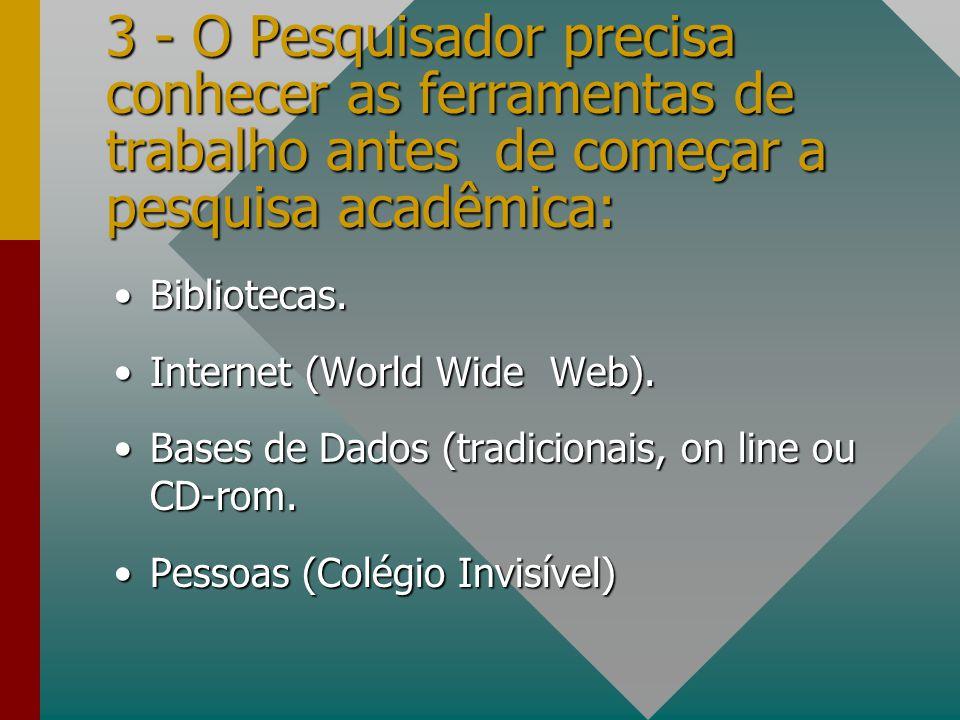 3 - O Pesquisador precisa conhecer as ferramentas de trabalho antes de começar a pesquisa acadêmica: Bibliotecas.Bibliotecas. Internet (World Wide Web