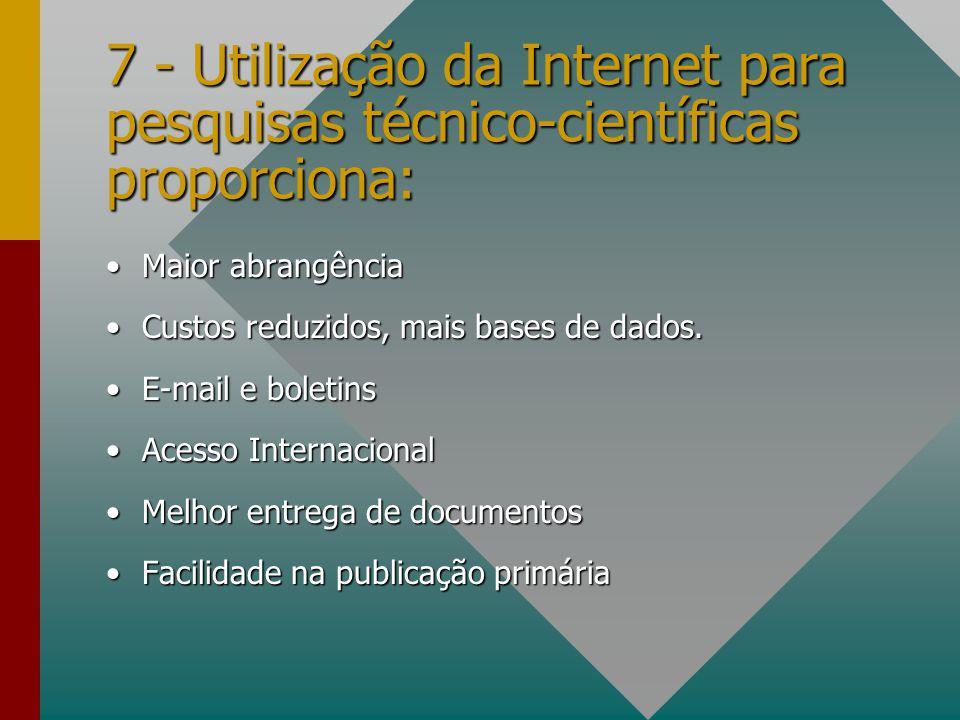 7 - Utilização da Internet para pesquisas técnico-científicas proporciona: Maior abrangênciaMaior abrangência Custos reduzidos, mais bases de dados.Cu