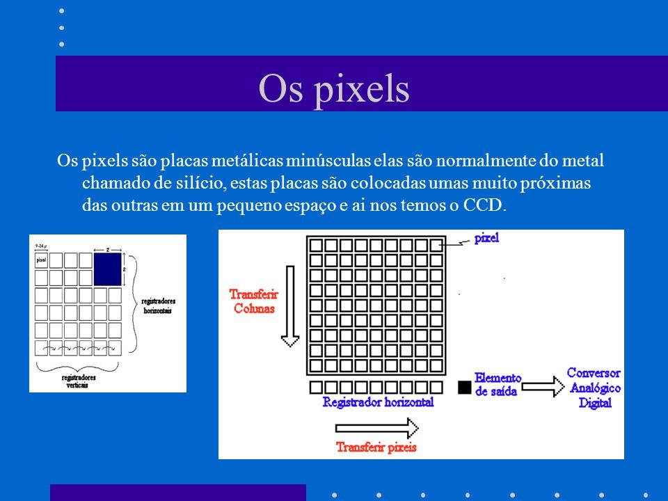 Os pixels Os pixels são placas metálicas minúsculas elas são normalmente do metal chamado de silício, estas placas são colocadas umas muito próximas das outras em um pequeno espaço e ai nos temos o CCD.