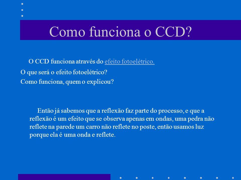 Como funciona o CCD. O CCD funciona através do efeito fotoelétrico.efeito fotoelétrico.