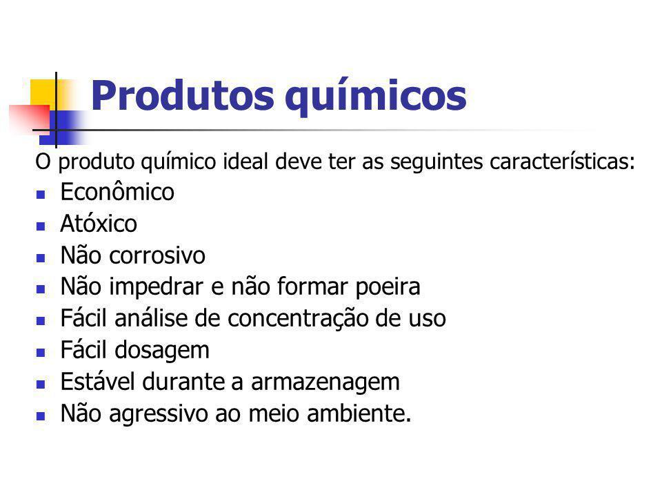 Produtos químicos O produto químico ideal deve ter as seguintes características: Econômico Atóxico Não corrosivo Não impedrar e não formar poeira Fáci