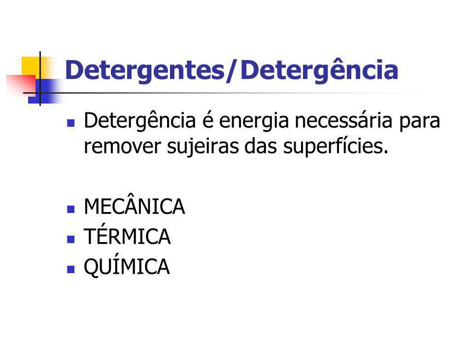 Detergentes/Detergência Detergência é energia necessária para remover sujeiras das superfícies. MECÂNICA TÉRMICA QUÍMICA
