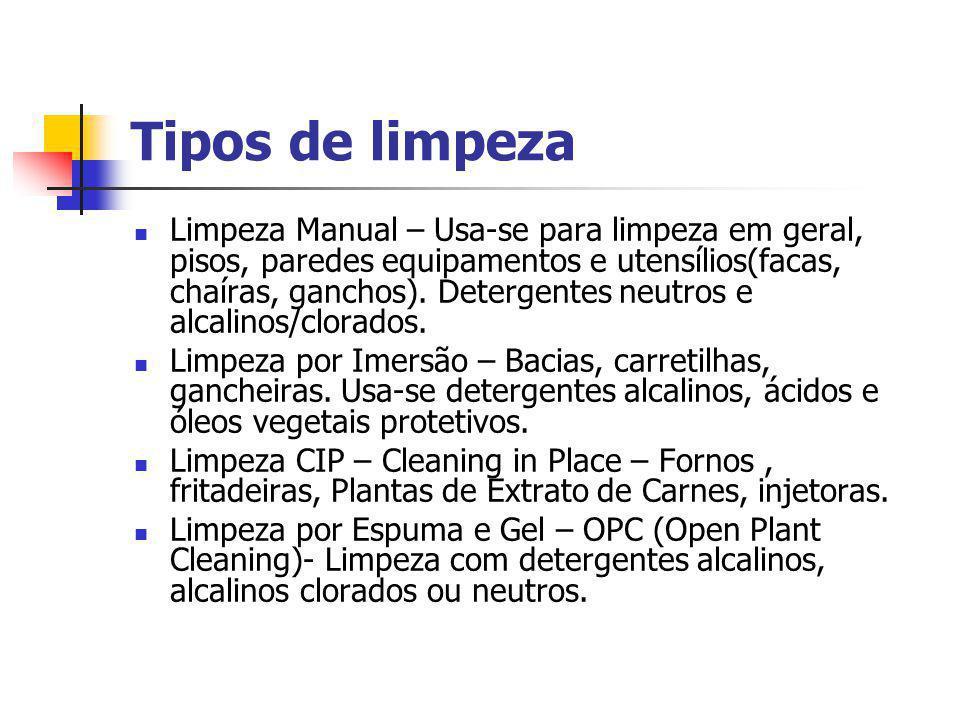 Tipos de limpeza Limpeza Manual – Usa-se para limpeza em geral, pisos, paredes equipamentos e utensílios(facas, chaíras, ganchos). Detergentes neutros