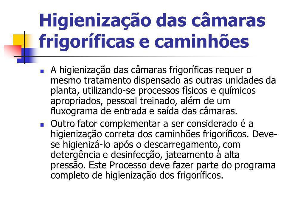 Higienização das câmaras frigoríficas e caminhões A higienização das câmaras frigoríficas requer o mesmo tratamento dispensado as outras unidades da p