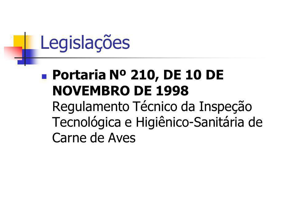 Legislações Portaria Nº 210, DE 10 DE NOVEMBRO DE 1998 Regulamento Técnico da Inspeção Tecnológica e Higiênico-Sanitária de Carne de Aves