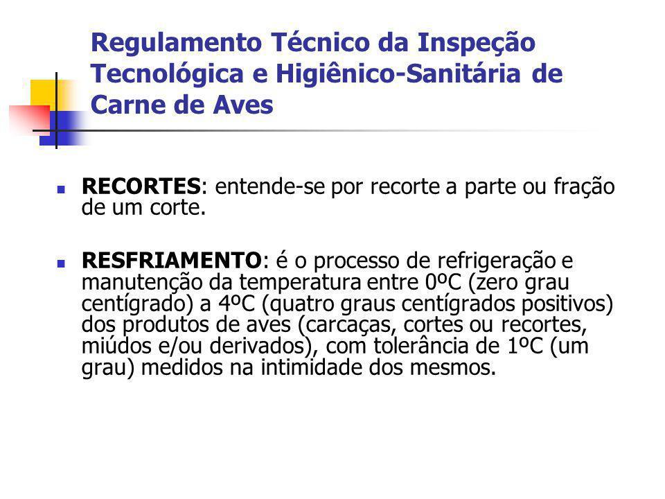 Regulamento Técnico da Inspeção Tecnológica e Higiênico-Sanitária de Carne de Aves RECORTES: entende-se por recorte a parte ou fração de um corte. RES