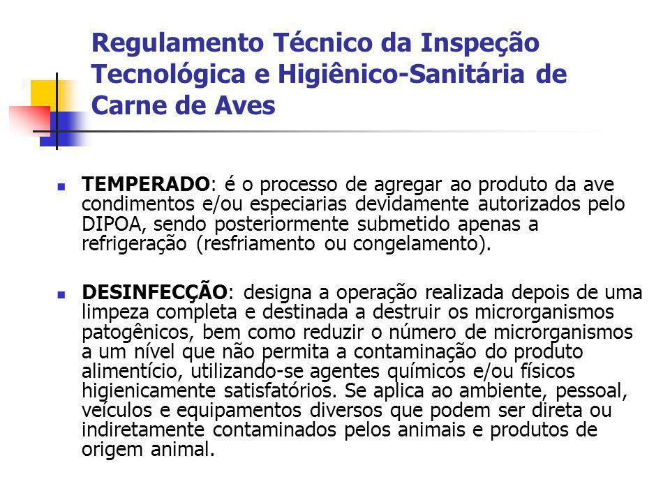 Regulamento Técnico da Inspeção Tecnológica e Higiênico-Sanitária de Carne de Aves TEMPERADO: é o processo de agregar ao produto da ave condimentos e/