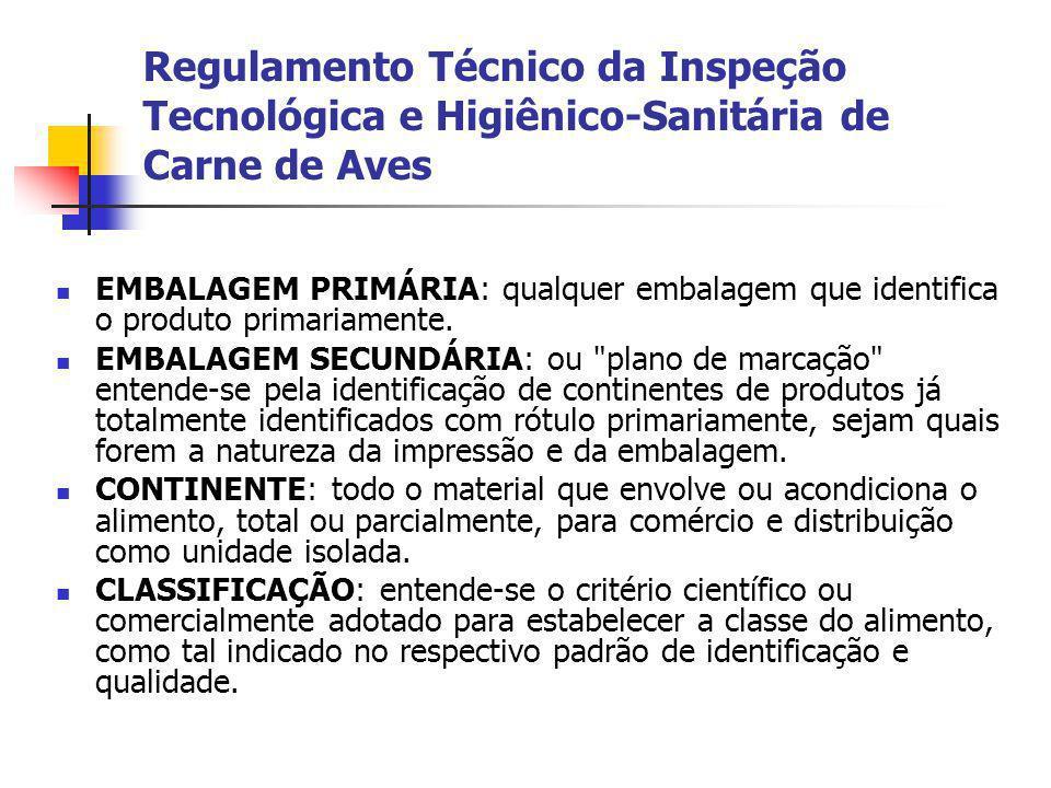 Regulamento Técnico da Inspeção Tecnológica e Higiênico-Sanitária de Carne de Aves EMBALAGEM PRIMÁRIA: qualquer embalagem que identifica o produto pri
