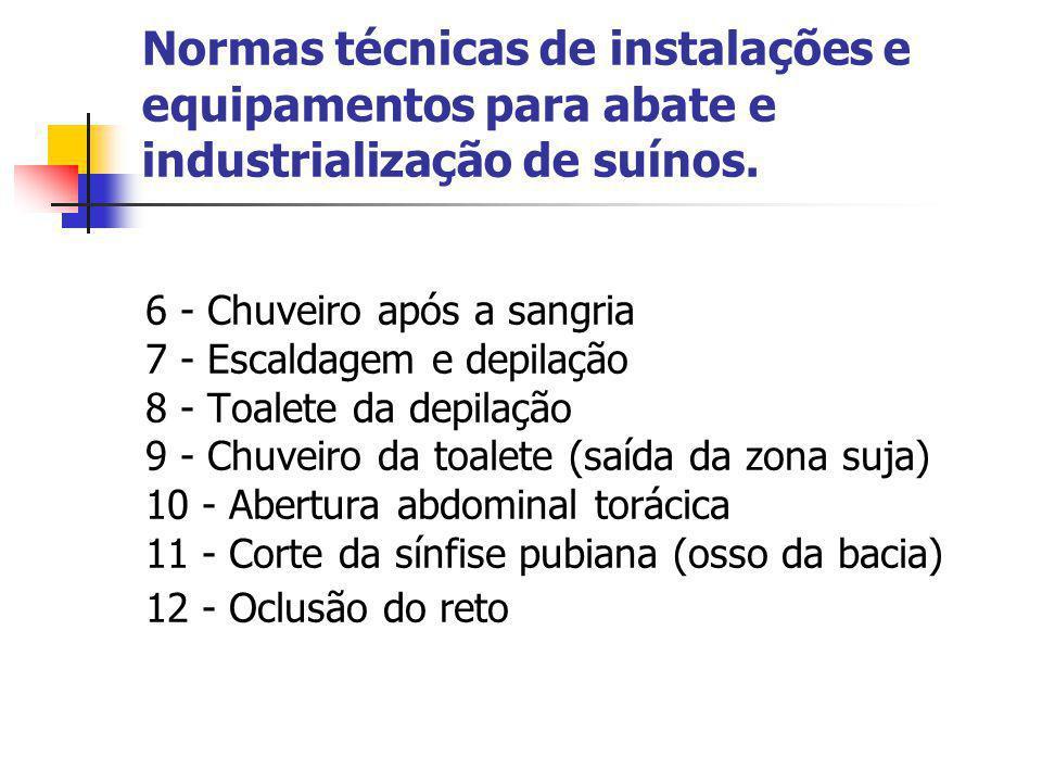 Normas técnicas de instalações e equipamentos para abate e industrialização de suínos. 6 - Chuveiro após a sangria 7 - Escaldagem e depilação 8 - Toal