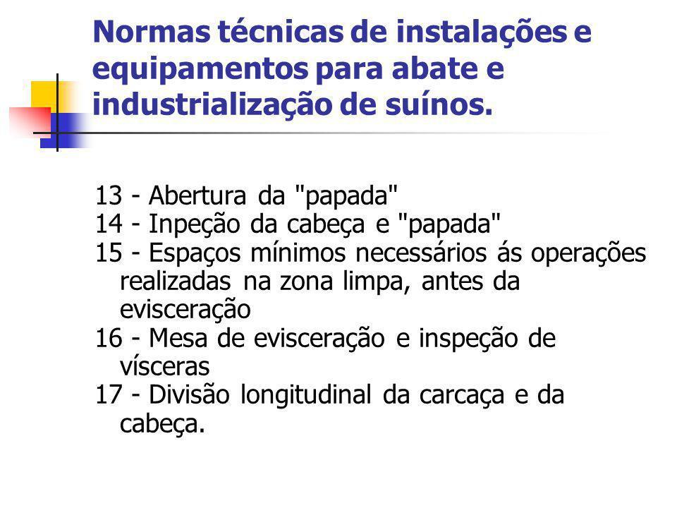 Normas técnicas de instalações e equipamentos para abate e industrialização de suínos. 13 - Abertura da