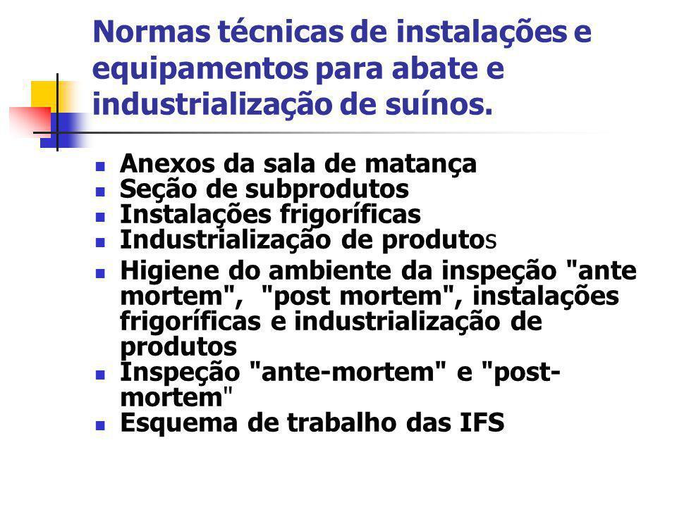 Normas técnicas de instalações e equipamentos para abate e industrialização de suínos. Anexos da sala de matança Seção de subprodutos Instalações frig