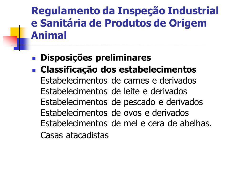Regulamento da Inspeção Industrial e Sanitária de Produtos de Origem Animal Disposições preliminares Classificação dos estabelecimentos Estabeleciment