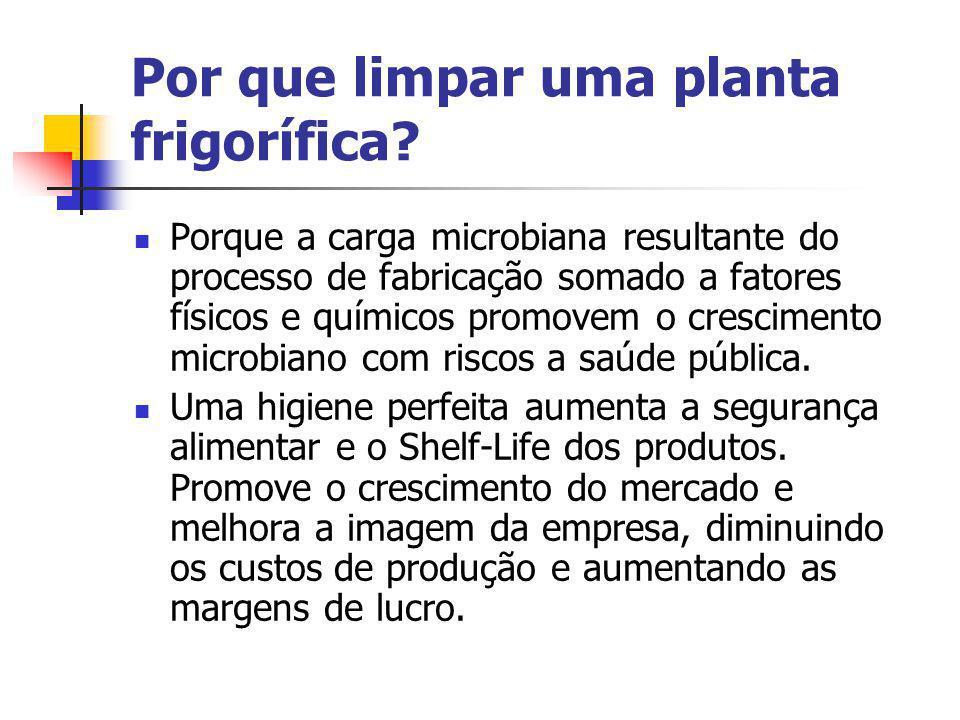 Por que limpar uma planta frigorífica? Porque a carga microbiana resultante do processo de fabricação somado a fatores físicos e químicos promovem o c