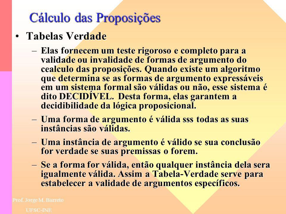 Prof. Jorge M. Barreto UFSC-INE Cálculo das Proposições Semântica do Cálculo das ProposiçõesSemântica do Cálculo das Proposições –A semântica é defini