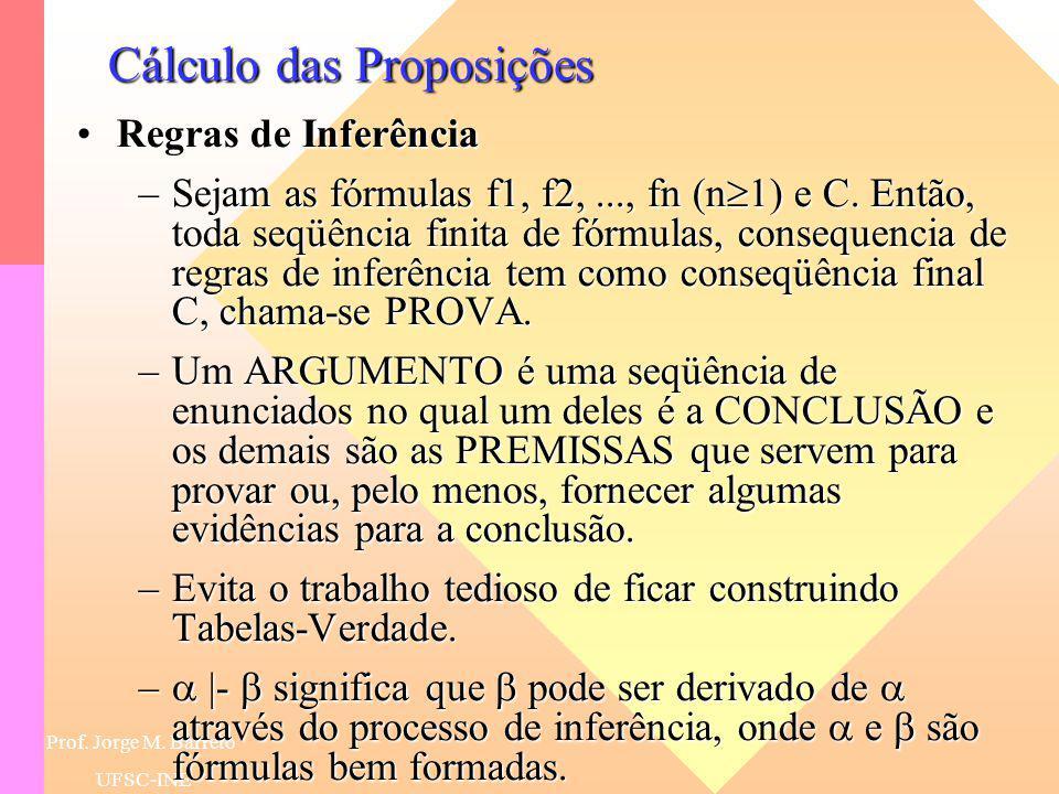 Prof. Jorge M. Barreto UFSC-INE Cálculo das Proposições Tabelas Verdade para Formas de ArgumentoTabelas Verdade para Formas de Argumento –Tabelas-Verd