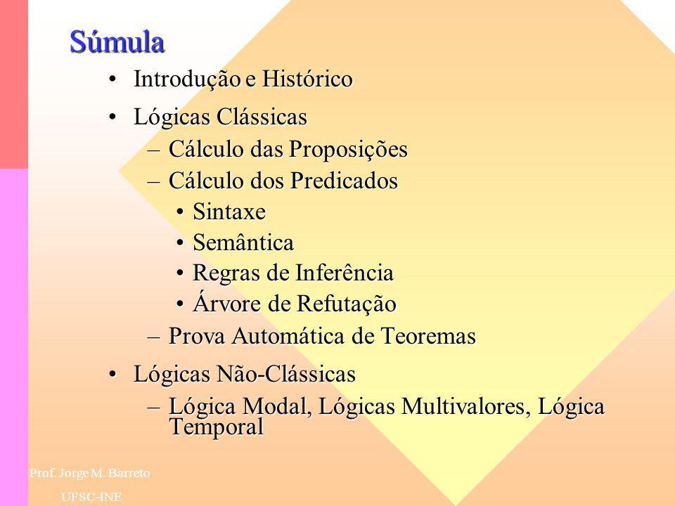 Lógica Lógicas Clássicas Lógicas Não-Clássicas Prof. Dr. Jorge M. Barreto - UFSC-INE