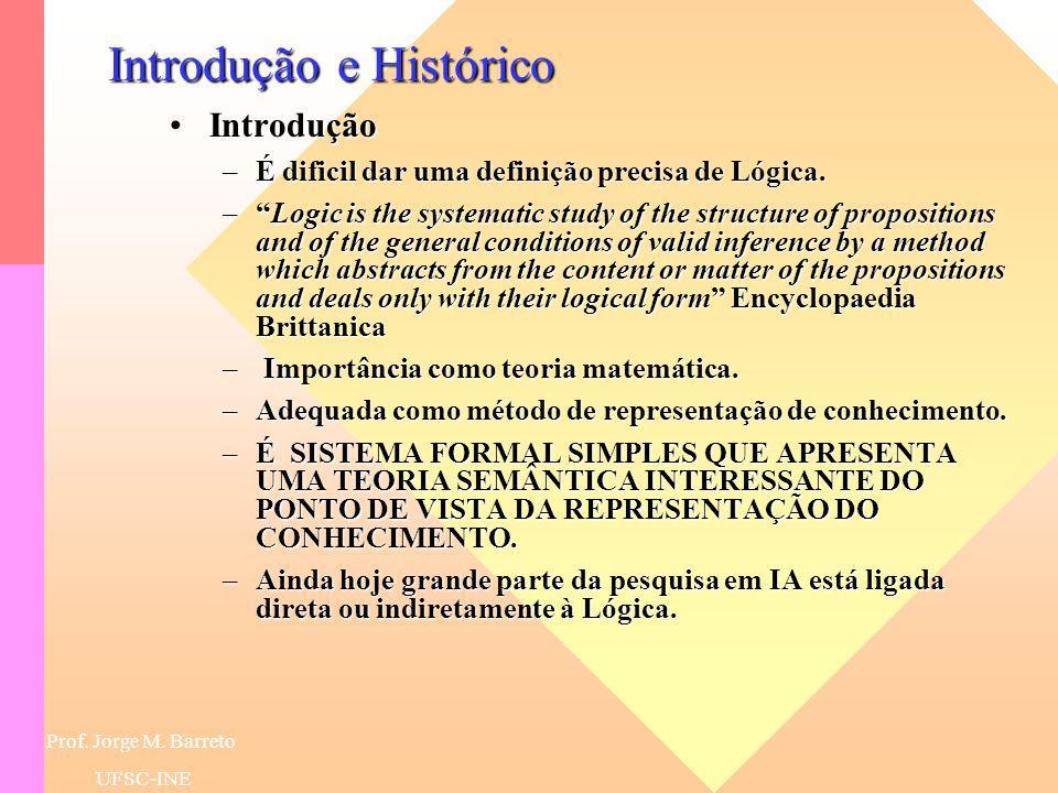 Prof. Jorge M. Barreto UFSC-INESúmula Introdução e HistóricoIntrodução e Histórico Lógicas ClássicasLógicas Clássicas –Cálculo das Proposições –Cálcul
