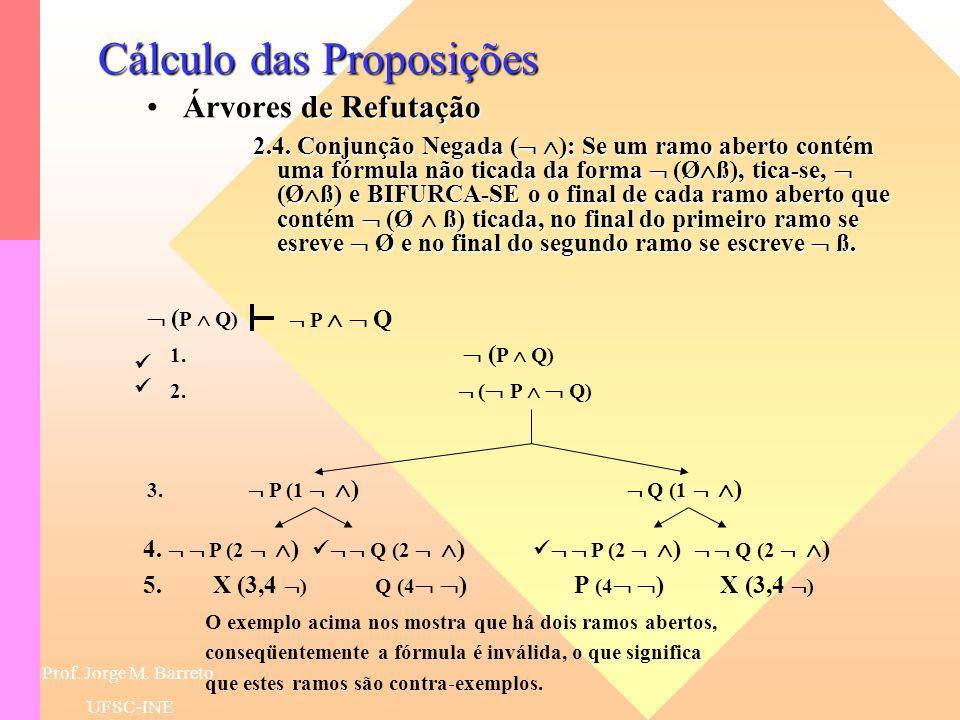 Prof. Jorge M. Barreto UFSC-INE Cálculo das Proposições Árvores de RefutaçãoÁrvores de Refutação 2.2. Negação Negada ( ): Se um ramo aberto contém uma