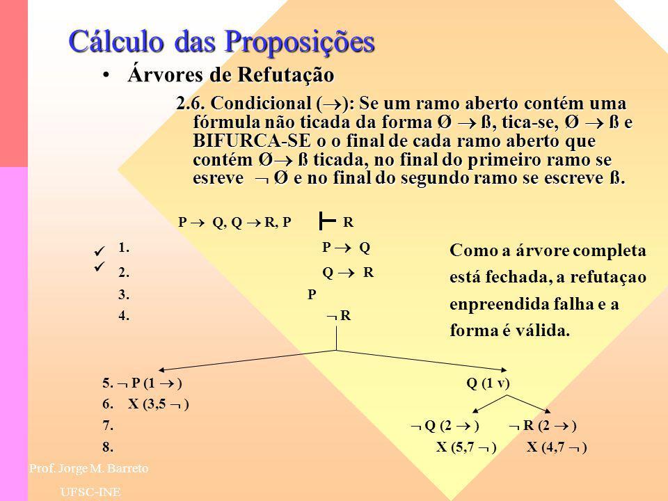 Prof. Jorge M. Barreto UFSC-INE Cálculo das Proposições Árvores de RefutaçãoÁrvores de Refutação 2.5. Disjunção (v): Se um ramo aberto contém uma fórm