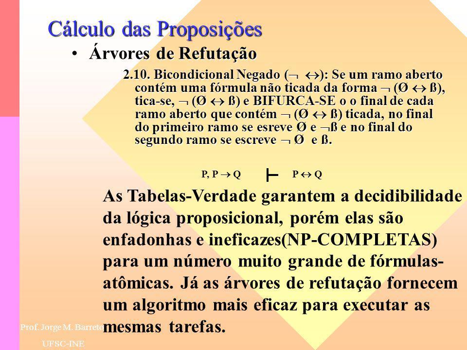Prof. Jorge M. Barreto UFSC-INE Cálculo das Proposições Árvores de RefutaçãoÁrvores de Refutação 2.9. Bicondicional ( ): Se um ramo aberto contém uma