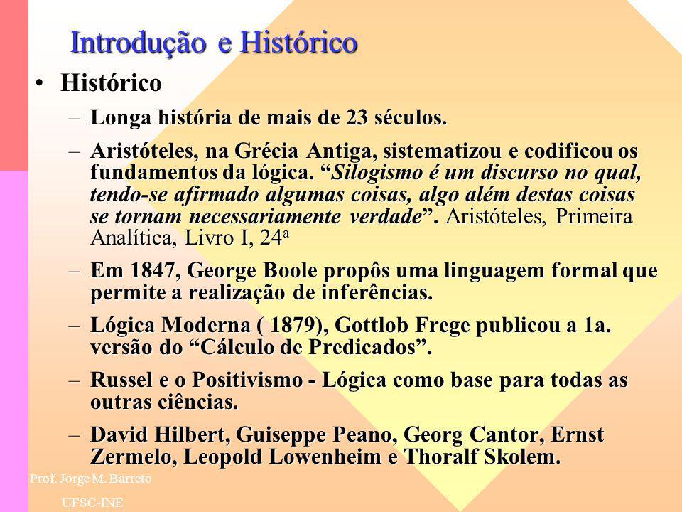 Prof. Jorge M. Barreto UFSC-INE Introdução e Histórico IntroduçãoIntrodução –É dificil dar uma definição precisa de Lógica. –Logic is the systematic s