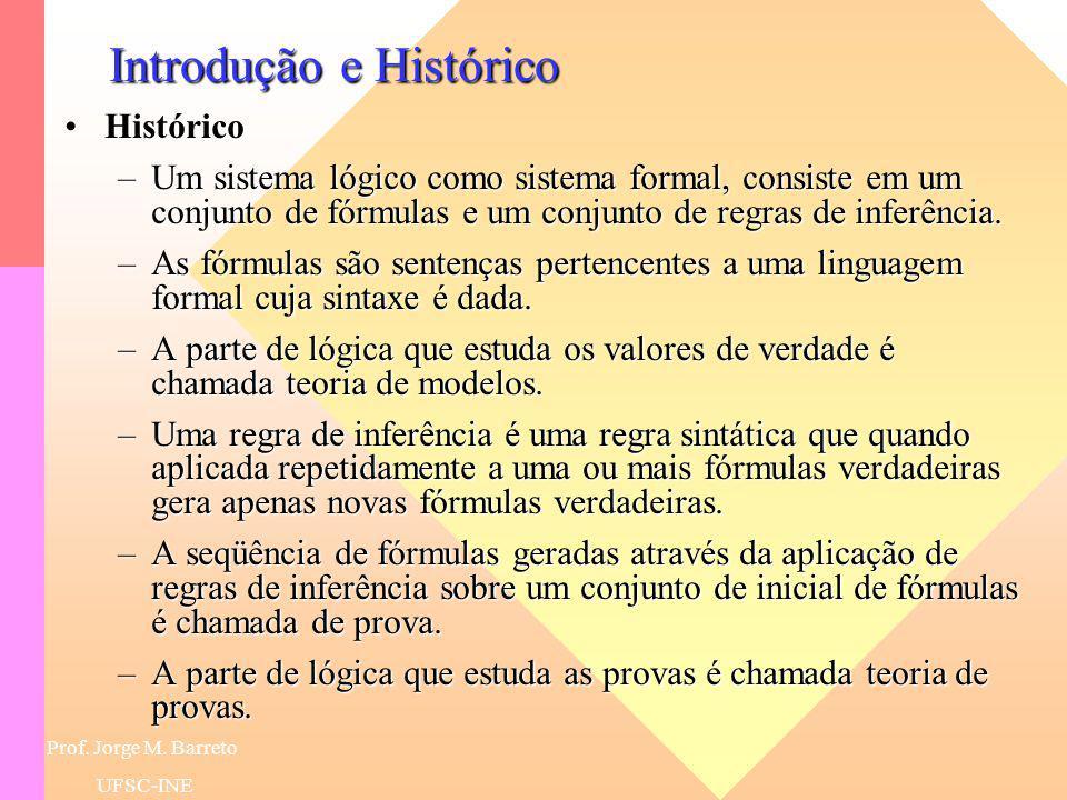 Prof. Jorge M. Barreto UFSC-INE Introdução e Histórico HistóricoHistórico –Longa história de mais de 23 séculos. –Aristóteles, na Grécia Antiga, siste